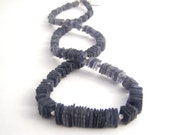 Iolite Strand Necklace - Modern - Square Beads - Sterling Silver Beads - Denim Blue - BellaBeadsOriginals