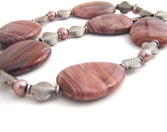 Pearl And Petrified Wood Strand Necklace Set, Teardrops, Sterling Silver, Large Beads, Brown, Mauve
