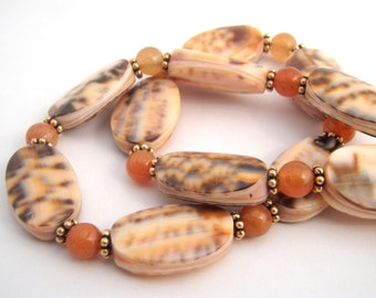 Shell And Carnelian Strand Necklace Set, Beach Jewelry, Gold, Orange, Brown, Peach, Shell Jewelry