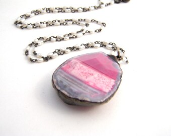 White Seed Pearl Pendant Necklace, Agate Pendant, Hot Pink, Grey, Black, Oxidized Sterling Silver, Modern Necklace