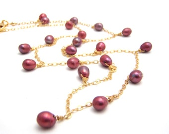 Dark Pink Pearl Strand Chain Necklace, 14k Gold Chain, Raspberry Pink, Dangles, Dainty Necklace
