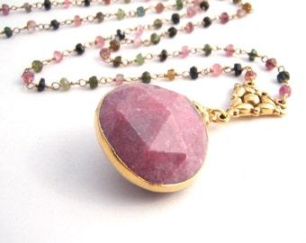Rainbow Tourmaline Pendant Necklace, Rosary Style, Pink Chalcedony Teardrop Pendant, Gold, Pink, Green