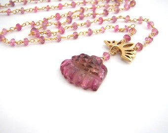 Pink Tourmaline Pendant Necklace, Rosary Style, Carved Pink Tourmaline Pendant, Gold, Raspberry Pink