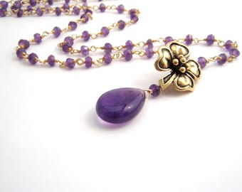 Amethyst Pendant Necklace, Rosary Style, Gold, Purple, February Birthstone