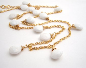 White Onyx Strand Chain Necklace, Teardrops, Gold, Chain, Wedding Necklace, Dangles