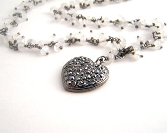 Moonstone Pave Heart Pendant Necklace, Oxidized Sterling Silver, Black, White, Crystals, Dangles