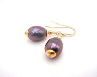 Violet Purple Pearl Dangle Earrings - 14k Gold - Classic