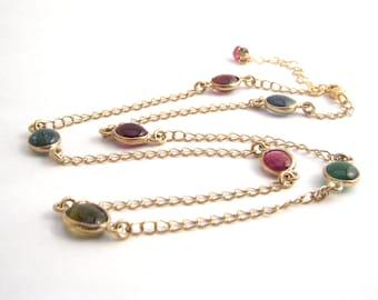 Rainbow Tourmaline Strand Necklace, 14k Gold Filled Chain, Dark Pink, Green, Gold