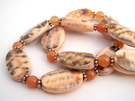 Shell And Carnelian Strand Necklace Set, Beach Jewelry, Gold, Orange, Brown, Peach, Shell Jewelry