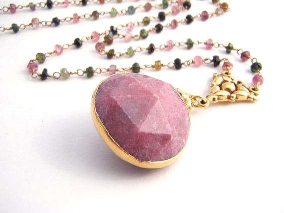 Rainbow Tourmaline Pendant Necklace, Rosary Style, Pink Chalcedony Teardrop Pendant, Gold, Pink, Green