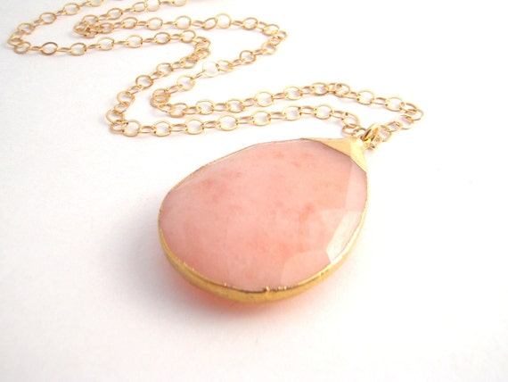 Peach Chalcedony Teardrop Necklace On Gold Chain - 14k Gold - Large Pendant - Spring - Summer