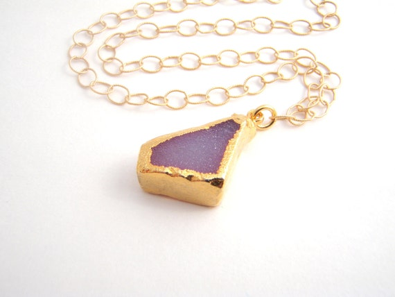 Pink Drusy Quartz Pendant On 14k Gold Filled Chain Necklace