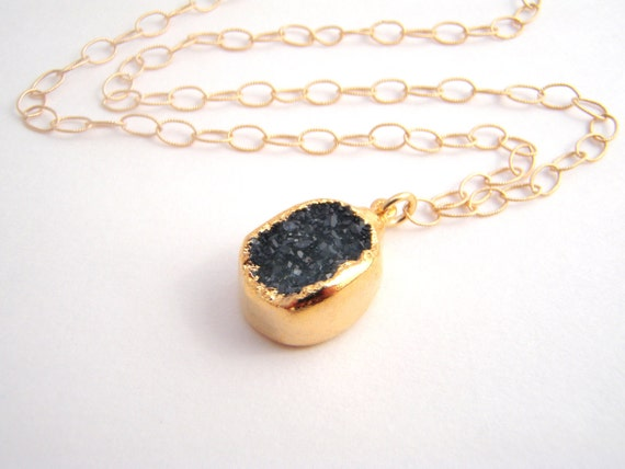 Reserved - Charcoal Gray Drusy Quartz Pendant Only