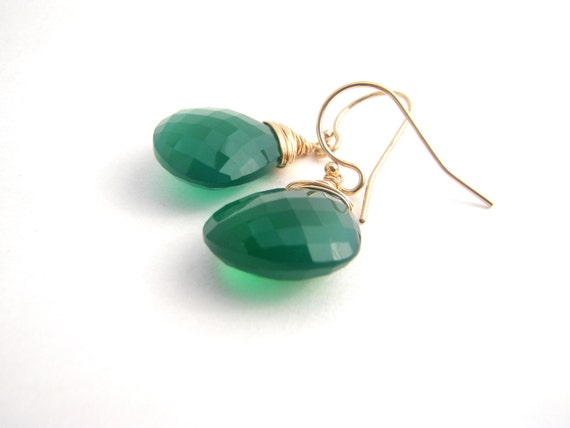 Green Onyx Teardrop Earrings - 14k Gold - Wire Wrapped - Emerald Green - Dangle Earrings