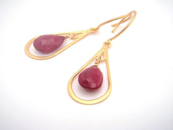 Ruby Chandelier Earrings, Ruby Teardrop, Gold, Oxblood Red, Christmas Red, Dangle Earrings