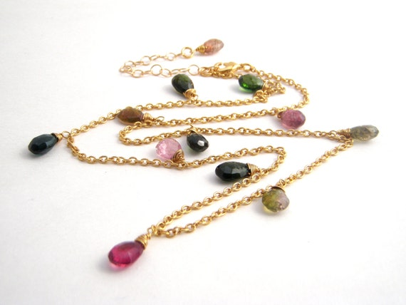 Rainbow Tourmaline Strand Necklace, Teardrops, 14k Gold Filled Chain, Semi Precious, Green, Pink