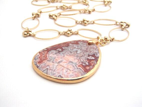Large Jasper Pendant Necklace, Gold Chain, Peach, Burnt Orange, Brown