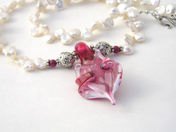 White Keshi Pearl Strand Necklace Set With Glass Angel Pendant - Raspberry Pink - White - Pendant - Sterling Silver - Garnet