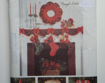 Butterick 6380 Pattern Designed by Margit Echols UNCUT Christmas Decorations with Bows, Wall Hanging, Wreath, Tree Skirt and More