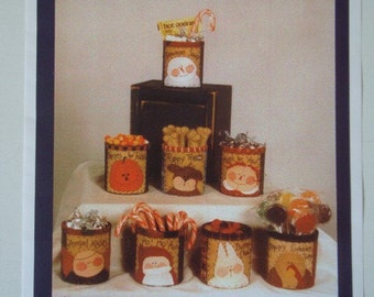 Gift-Cans and Goodies Pattern No.174 for 8 Appliqued Covered Cans Pumpkin, Angel, Snowman, Santa and More