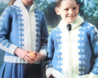 Children's Cardigan Knitting Pattern by Mary Maxim No.1424A and 1424B