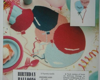 Birthday Balloons Plastic Canvas Pattern for Placemat and Wall Decoration with Free Shipping