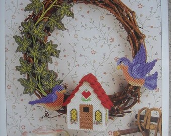 Bluebirds at Home Wreath Plastic Canvas Pattern with Free Shipping