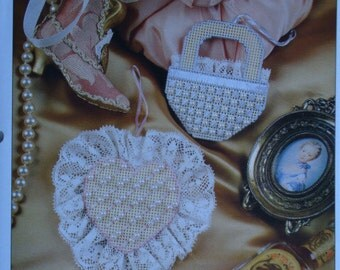 Victorian Ornaments Plastic Canvas Pattern to Make Heart and Basket with Free Shipping
