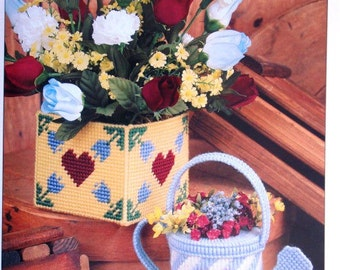 Country Containers Plastic Canvas Pattern with Free Shipping Milk Can and Flower Box