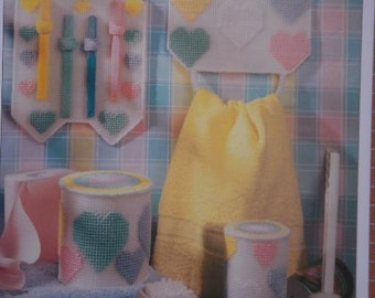 HEARTS BATHROOM SET plastic canvas PATTERN for Holders for Towels, Toothbrushes, Toilet Tissue, Toilet Brush and Cotton Swabs AND Free Shipping
