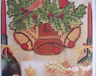 Festive Wall Hanging Plastic Canvas Pattern with Bells, Holly, Ivy and Cardinals for Christmas Decor Free Shipping