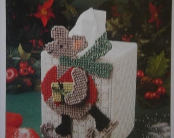 Winter Mouse Tissue Cover Plastic Canvas Pattern Warm your Home with Seasonal Mice Free Shipping