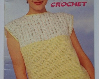 Easy Crochet Facile Patterns Book by Beehive - Patons patterns number 498 for Sweaters, Pullovers, Vests and Tops