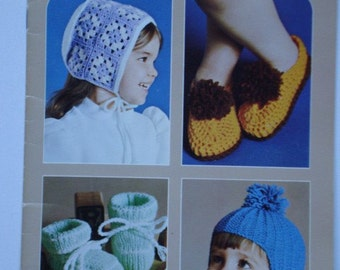 Accessories for Tots And Toddlers Knit and Crochet Patterns by Beehive Patons No. 402 for Hats, Slippers, Bootees, Mitts and Scarves