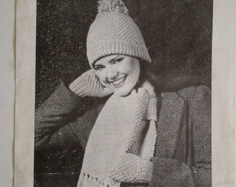 Knitted Hat, Mitts and Scarf Set Pattern by Beehive No. 334 - free shipping