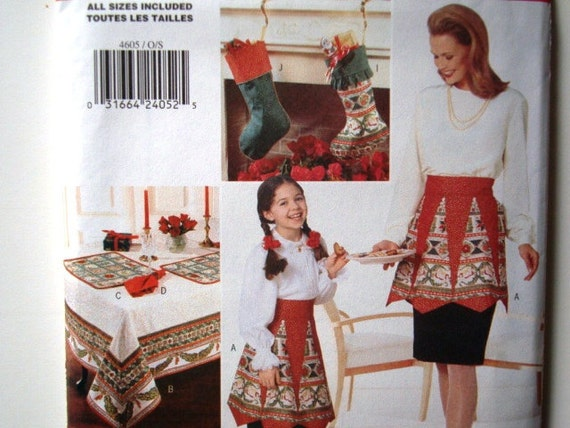 Butterick 4605 VIP Pattern. Apron, Tablecloth, Napkin, Placemat, Pillow, Bolster, Christmas Tree Skirt, Stocking, Bottle Cover. Uncut
