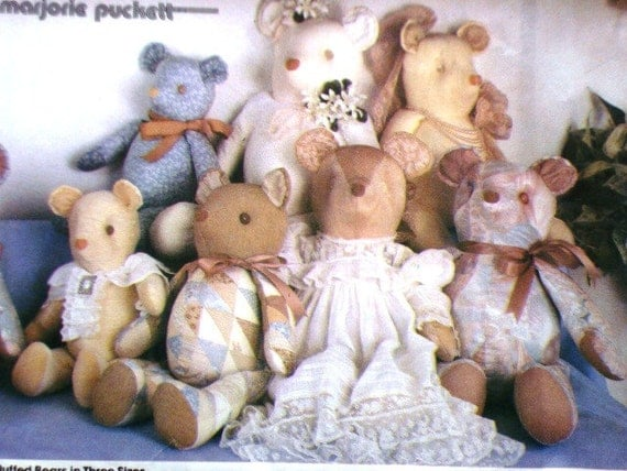 Simplicity 7210 Teddy Bear Pattern Stuffed Bears In 3 Sizes