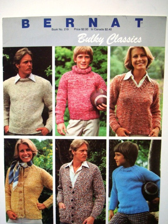 Bernat Bulky Classics Book No 219 Knit Patterns - Sweaters Cardigans Jumpers Pullovers