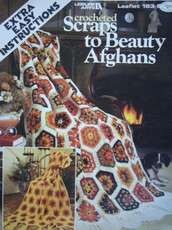 Crocheted Scraps to Beauty Afghans Crochet Granny Squares Pattern Extra Easy Instructions Leisure Arts Leaflet 163