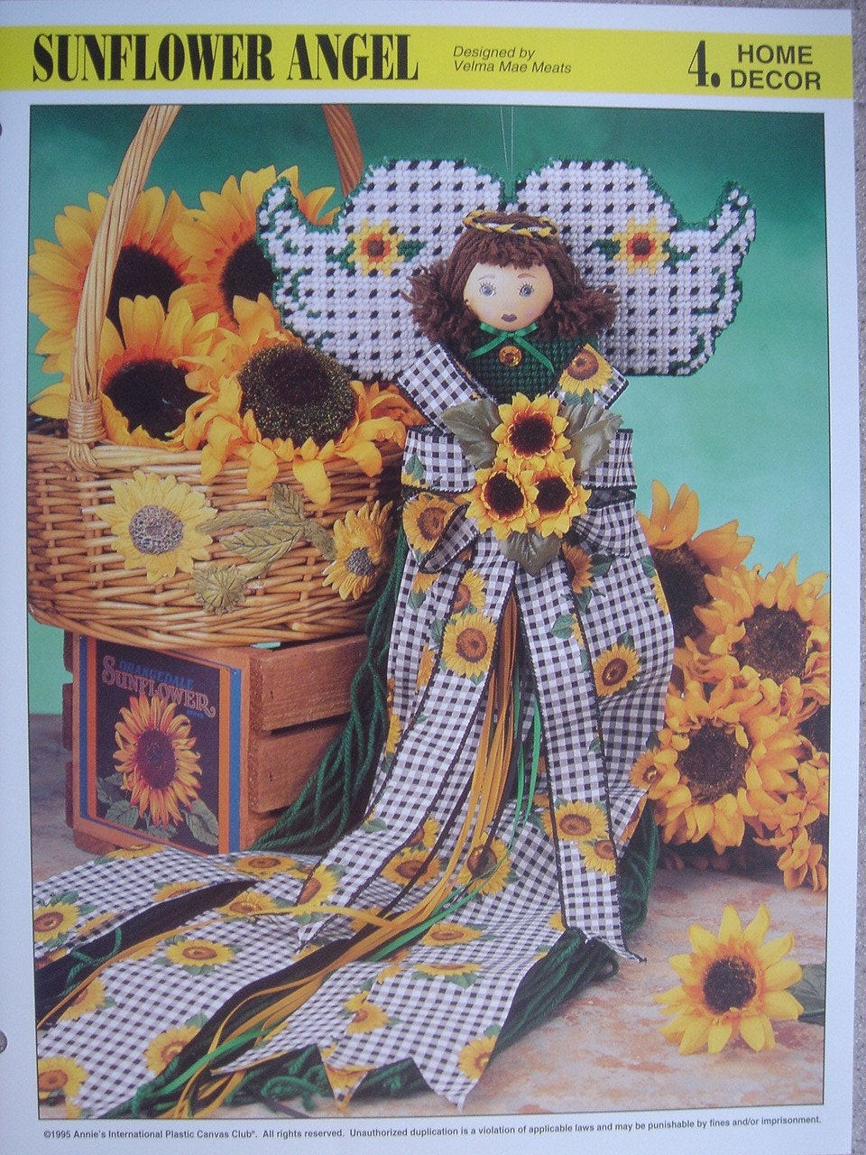 Sunflower Angel Plastic Canvas Pattern From Annie S
