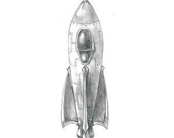 Rocket Print (HMS Dredflower) - Space Shuttle Sci-Fi