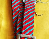 RED and BLUE STRIPED GUITAR STRAP- FREE SHIPPING