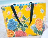 Large Lined Oilcloth Tote Bag Reversible Market Beach Bag