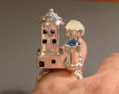 RESERVED for Laurie 1/2 pymt Sterling Silver Castle Ring with Carved Moonstone and Topaz