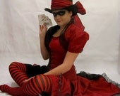 Harley Quinn Style Steampunk Black and Brick Red Corset, Top, Bolero Shrug, Bloomers,  Add-A-Bustle and Hat Sash - CUSTOM Size