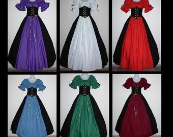 Custom Color and Size Fantasy Top Skirt Waist Cincher Corset Set by LoriAnn Costume Designs - Great for Renaissance