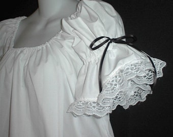 WHITE w/bows and Lace Renaissance Fantasy Pirate Chemise Top XS S M L XL 2X 3X LoriAnn Costume Designs - Stunning Medieval Faire Blouse