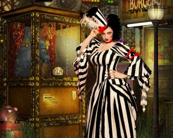 Circus Style Steampunk Black and White Stripe Corset, Bustle, Top and Skirt - by LoriAnn - Custom