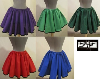 Full Circle Mini Skirt with trim - Choose Size  XS S M L XL 2X - Choose from 39 Colors and 25 different trims by LoriAnn Costume Designs