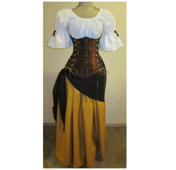 3 Day Clearance SALE - Buccaneer Wench Skull design Under Bust Corset Skirt and Sash - COPPER Skull by LoriAnn - Custom size